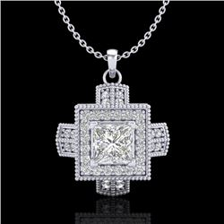 0.84 CTW Princess VS/SI Diamond Micro Pave Necklace 18K White Gold - REF-149M3H - 37190