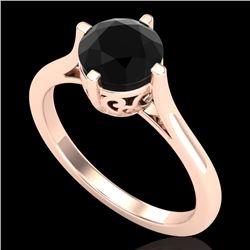 1.25 CTW Fancy Black Diamond Solitaire Engagement Art Deco Ring 18K Rose Gold - REF-81N8Y - 38060