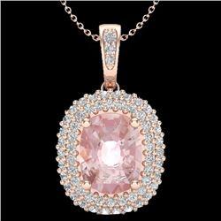 2.75 CTW Morganite & Micro Pave VS/SI Diamond Halo Necklace 14K Rose Gold - REF-85K8W - 20415