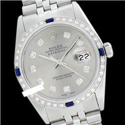 Rolex Men's Stainless Steel, QuickSet, Diam Dial & Diam/Sapphire Bezel - REF-521Y5X