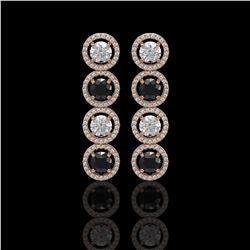 5.58 CTW Black & White Diamond Designer Earrings 18K Rose Gold - REF-581H3A - 42612