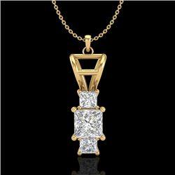 1.54 CTW Princess VS/SI Diamond Solitaire Art Deco Necklace 18K Yellow Gold - REF-418A2X - 37204