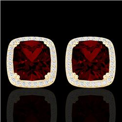 6 CTW Garnet & Micro Pave VS/SI Diamond Halo Solitaire Earrings 18K Yellow Gold - REF-76K4W - 22805