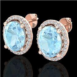 5 CTW Aquamarine & Micro Pave VS/SI Diamond Earrings Halo 14K Rose Gold - REF-96W2F - 21044