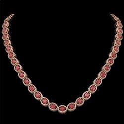 31.1 CTW Tourmaline & Diamond Halo Necklace 10K Rose Gold - REF-600K2W - 40419