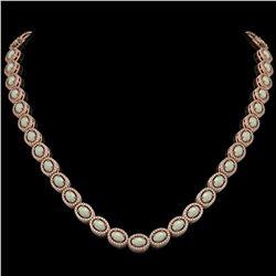 21.21 CTW Opal & Diamond Halo Necklace 10K Rose Gold - REF-555Y3K - 40416