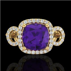 3.75 CTW Amethyst & Micro VS/SI Diamond Ring 18K Yellow Gold - REF-65F8N - 22997
