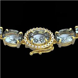 36.25 CTW Aquamarine & VS/SI Diamond Eternity Tennis Micro Halo Necklace 14K Yellow Gold - REF-321W8