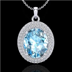5 CTW Sky Blue Topaz & Micro Pave VS/SI Diamond Necklace 18K White Gold - REF-92A5X - 20557