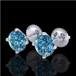 2.5 CTW Fancy Intense Blue Diamond Art Deco Stud Earrings 18K White Gold - REF-354N5Y - 38251