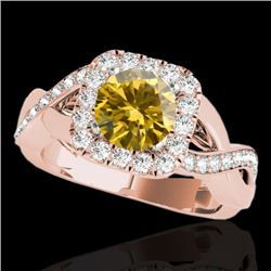 2 CTW Certified Si/I Fancy Intense Yellow Diamond Solitaire Halo Ring 10K Rose Gold - REF-345F5N - 3
