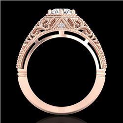 1.07 CTW VS/SI Diamond Solitaire Art Deco Ring 18K Rose Gold - REF-322M5H - 36918