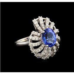 3.60 ctw Tanzanite and Diamond Ring - 14KT White Gold