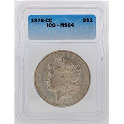 1878-CC $1 Morgan Silver Dollar Coin ICG MS64