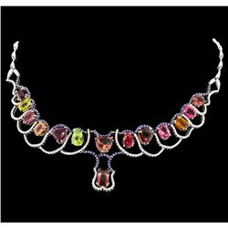 33.71 ctw Tourmaline and Diamond Necklace - 14KT White Gold