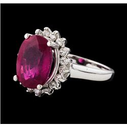 6.33 ctw Ruby and Diamond Ring - 14KT White Gold