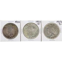 Lot of 1922, 1922-D, & 1923-S $1 Peace Silver Dollar Coins