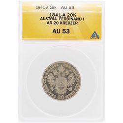 1841-A Austria Ferdinand I AR 20 Kreuzer Coin ANACS AU53
