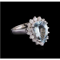 2.52 ctw Aquamarine and Diamond Ring - 14KT White Gold