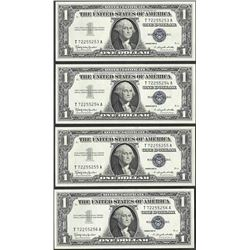 Lot of (4) Consecutive 1957B $1 Silver Certificate Notes