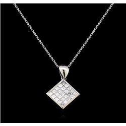 1.28 ctw Diamond Pendant With Chain - 14KT White Gold