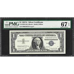 1957A $1 Silver Certificate Note Fr.1620 PMG Superb Gem Uncirculated 67EPQ