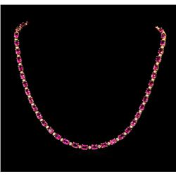 23.00 ctw Pink Tourmaline and Diamond Necklace - 14KT Yellow Gold