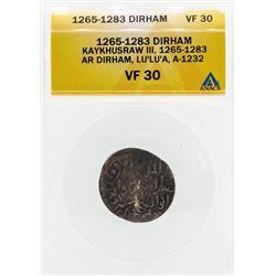 1265-1283 Dirham Kaykhusraw III Coin ANACS VF30