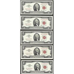 Lot of (5) 1953/1963 $2 Legal Tender Notes