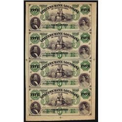 Uncut Sheet of $5 Citizens Bank of Louisiana Obsolete Notes