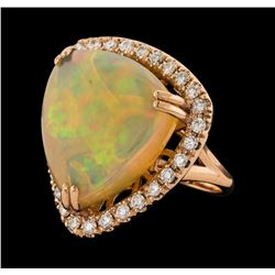 19.78 ctw Opal and Diamond Ring - 14KT Rose Gold
