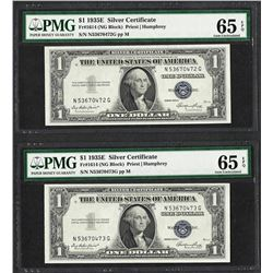 Lot of (2) Consecutive 1935E $1 Silver Certificate Notes PMG Gem Uncirculated 65