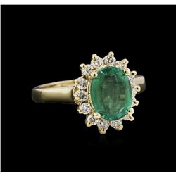 2.16 ctw Emerald and Diamond Ring - 14KT Yellow Gold
