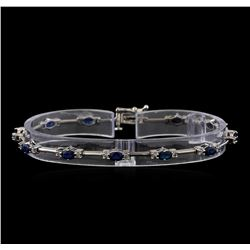 3.50 ctw Sapphire and Diamond Bracelet - 14KT White Gold