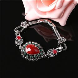 BRACELET - VINTAGE STYLE CRAFTING OF RED STYLE GEMS IN GERMAN STERLING SILVER SETTING WITH 18K GOLD