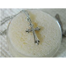 "NECKLACE - STERLING SILVER CROSS ON 18"" CHAIN"