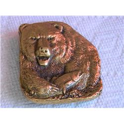 """BELT BUCKLE - BEAR IMAGE WITH FISH - BRASS - 2 3/4"""" TALL X  2 3/8"""" WIDE"""