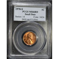 1970-S SMALL DATE LINCOLN CENT, PCGS MS-66 RED