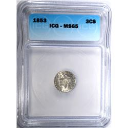 1853 3-CENT SILVER, ICG MS-65