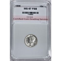1936 MERCURY DIME CCGS SUPERB GEM FSB