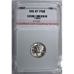 1937 MERCURY DIME CCGS SUPERB GEM FSB