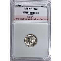 1937-D MERCURY DIME CCGS SUPERB GEM FSB