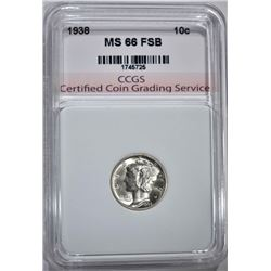 1938 MERCURY DIME CCGS SUPERB GEM FSB