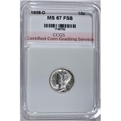 1938-D MERCURY DIME CCGS SUPERB GEM FSB