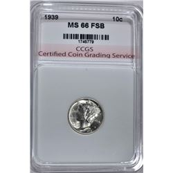 1939 MERCURY DIME CCGS SUPERB GEM FSB