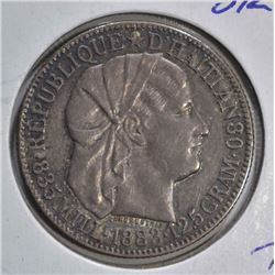 1883 SILVER 50 CENTS HAITI  CH.BU