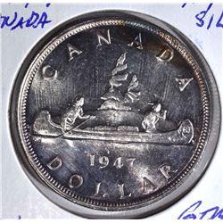 1947 CANADA SILVER $1 DOLLAR  GEM BU