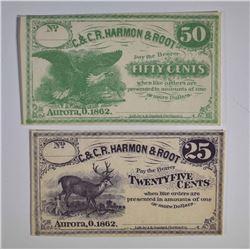 (2 PCS.) 1862 25 CENTS & 50 CENTS  GEM CU