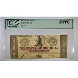 1862 $5 STATE OF GEORGIA  PCGS 58PPQ