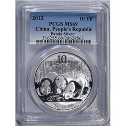 2013 CHINA SILVER PANDA PCGS MS69